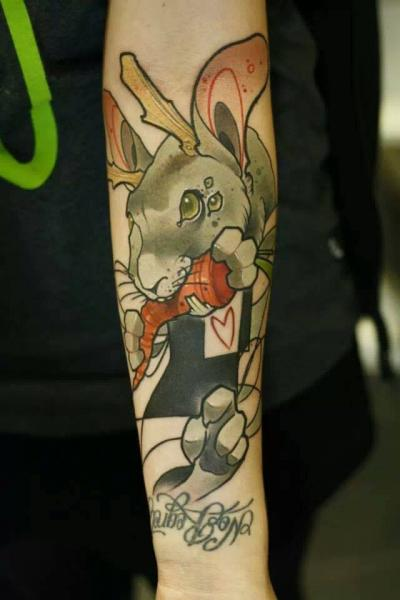 Arm New School Rabbit Tattoo by Signs and Wonders