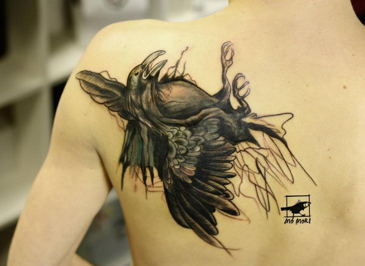 Shoulder Back Crow Tattoo by Signs and Wonders