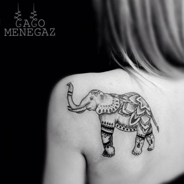 Shoulder Back Elephant Tattoo by Silence of Art Tattoo Studio