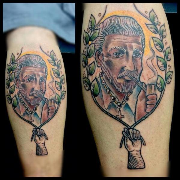 Portrait Calf Tattoo by Silence of Art Tattoo Studio