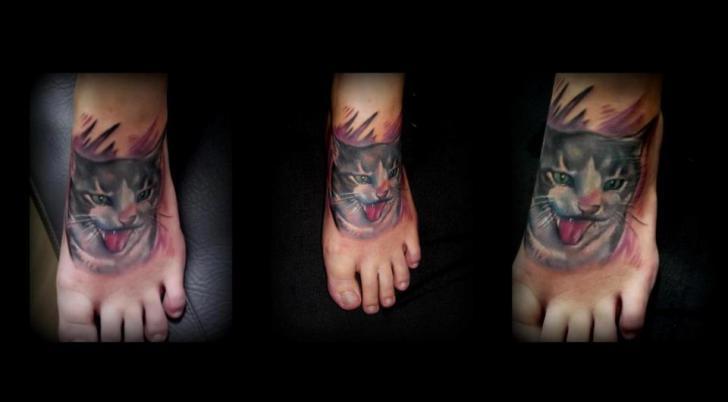 Realistic Foot Cat Tattoo by Silence of Art Tattoo Studio