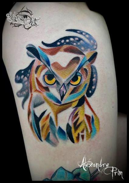 Tatuaggio Spalla Gufo di Silence of Art Tattoo Studio
