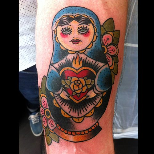Arm New School Matryoshka Tattoo by Ten Ten Tattoo