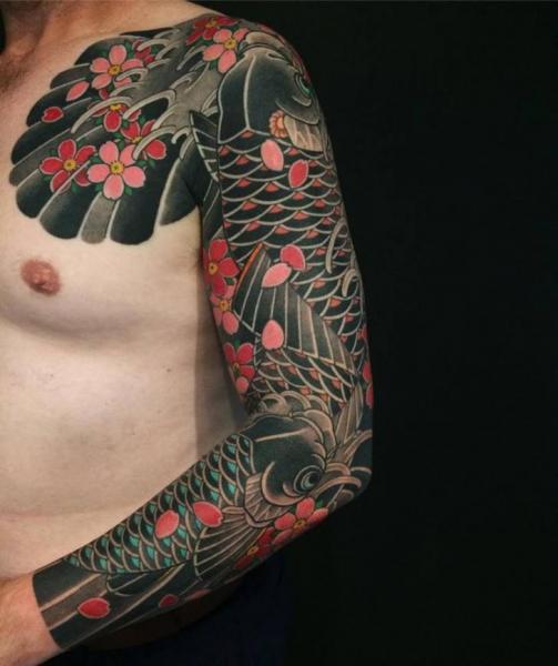 Shoulder Arm Japanese Carp Koi Tattoo by Ten Ten Tattoo