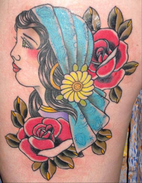 New School Gypsy Tattoo by Ten Ten Tattoo