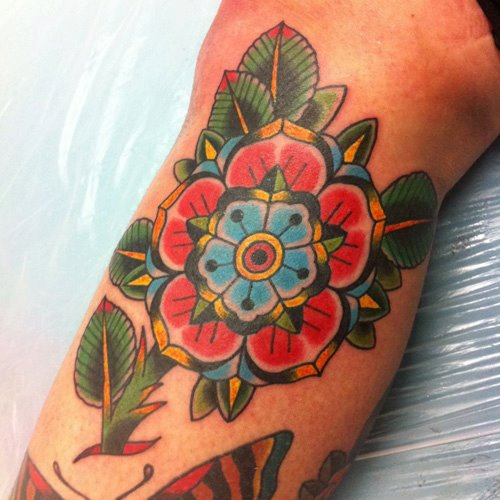 Arm Old School Flower Tattoo by Ten Ten Tattoo