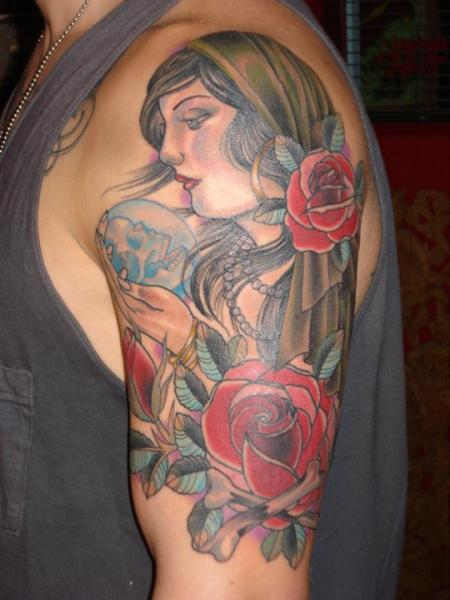 Shoulder Gypsy Tattoo by Ten Ten Tattoo