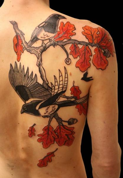 Realistic Swallow Back Tree Tattoo by Gallon Tattoo