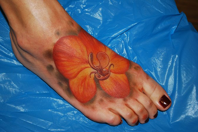 Realistic Foot Flower Tattoo by Gallon Tattoo