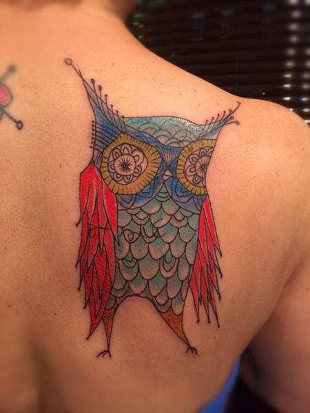 Fantasy Back Owl Tattoo by Top Gun Tattooing
