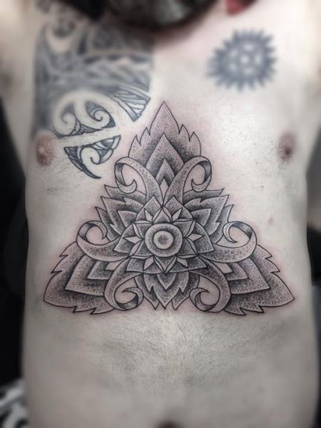 Belly Dotwork Geometric Tattoo by Top Gun Tattooing