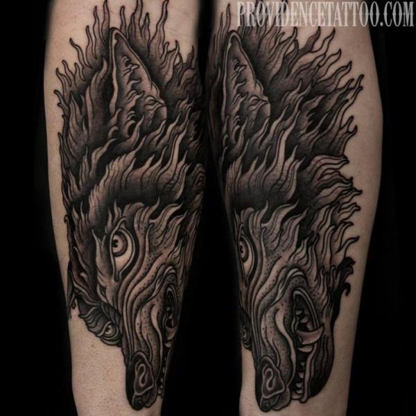 Arm Wolf Tattoo von Providence Tattoo studio