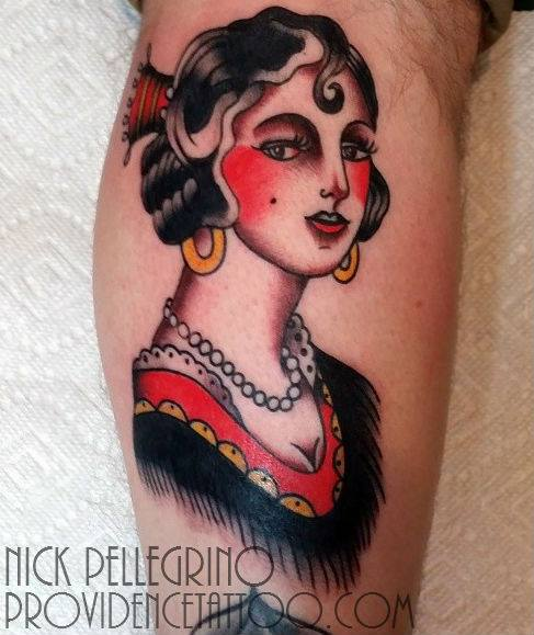Calf Old School Gypsy Tattoo by Providence Tattoo studio