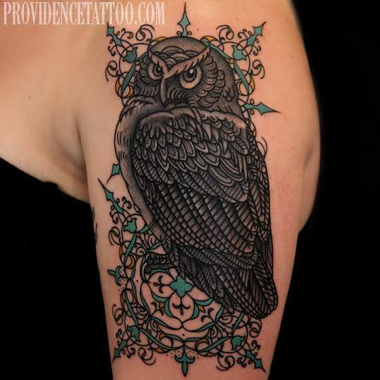 Shoulder Owl Tattoo by Providence Tattoo studio