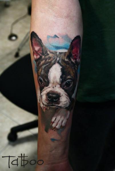 Arm Realistische Hund Tattoo von Valentina Riabova