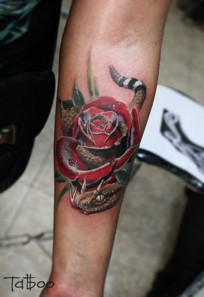 Arm Realistic Snake Flower Tattoo by Valentina Riabova