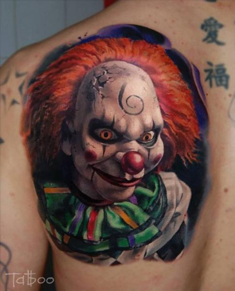 Clown Back Tattoo by Valentina Riabova