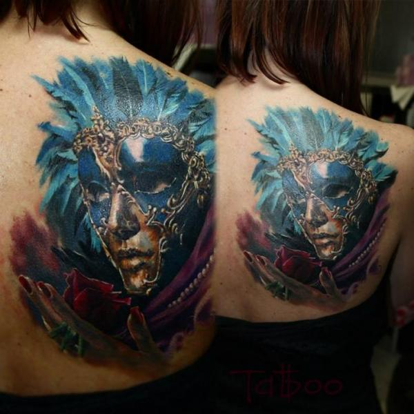 Realistic Back Mask Tattoo by Valentina Riabova