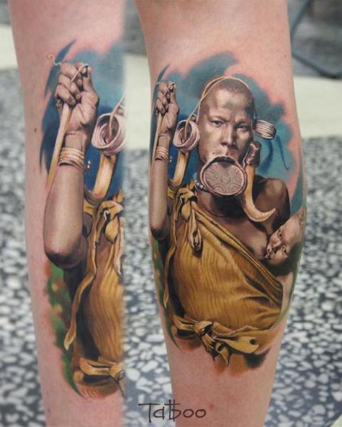 Portrait Realistic Calf Tattoo by Valentina Riabova