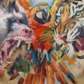 Schulter Realistische Brust Tiger Bauch Affe Papagei tattoo von Valentina Riabova