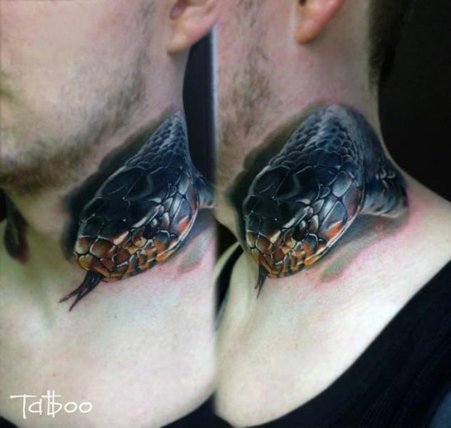 Realistic Snake Neck Tattoo by Valentina Riabova