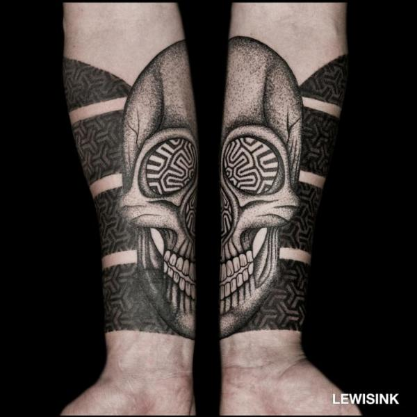 Arm Skull Dotwork Tattoo by Lewis Ink