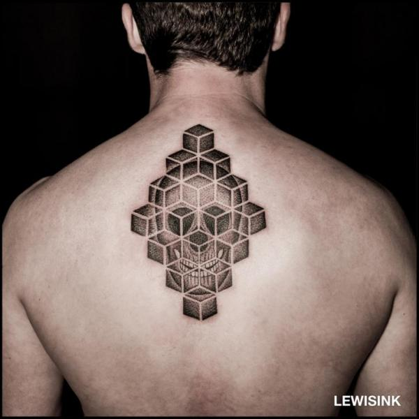 Skull Back Dotwork Tattoo by Lewis Ink