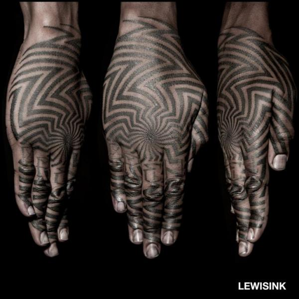 Finger Hand Dotwork Tattoo by Lewis Ink