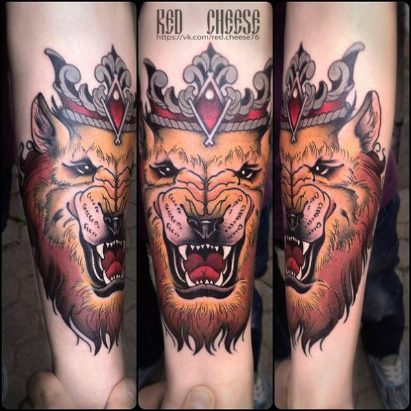 Arm Lion Crown Tattoo by Davidov Andrew