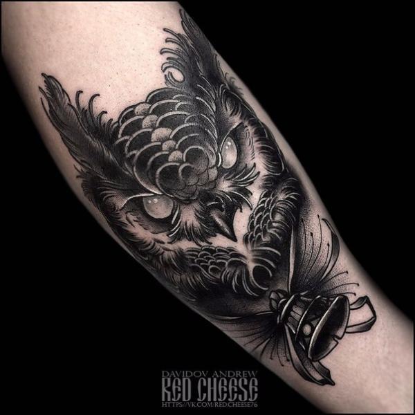 Arm Owl Tattoo by Davidov Andrew