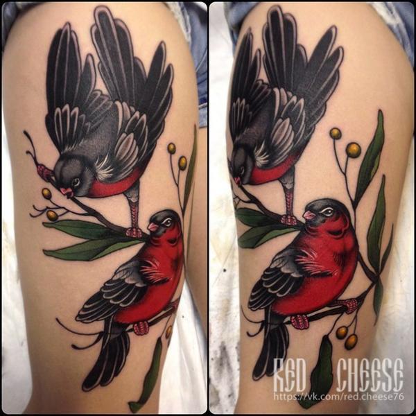 Calf Bird Tattoo by Davidov Andrew