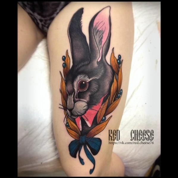 Rabbit Thigh Tattoo by Davidov Andrew