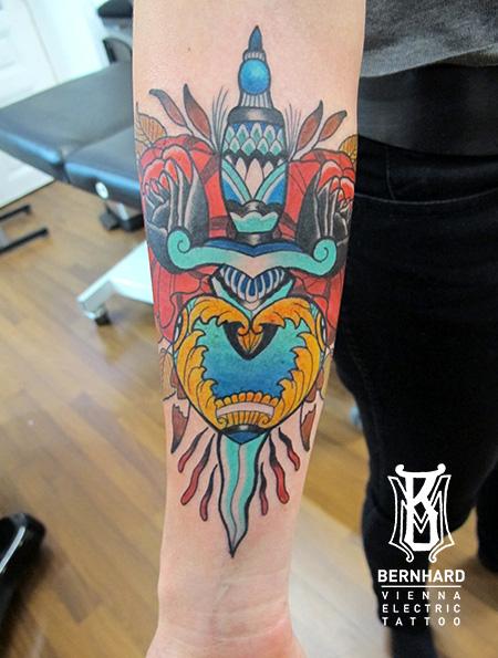 Arm New School Dagger Tattoo by Vienna Electric Tattoo