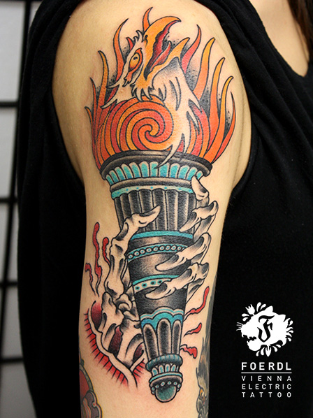 Arm New School Flame Tattoo by Vienna Electric Tattoo