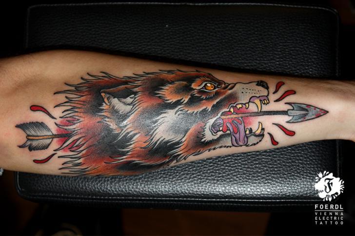 Arm New School Wolf Tattoo by Vienna Electric Tattoo