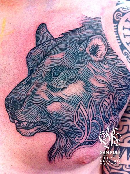Chest Bear Tattoo by Vienna Electric Tattoo