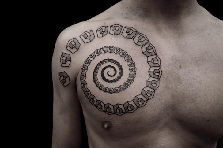 Shoulder Chest Spiral Tattoo by Vienna Electric Tattoo