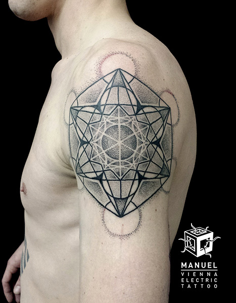 Shoulder Dotwork Tattoo by Vienna Electric Tattoo