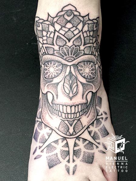 Foot Skull Dotwork Tattoo by Vienna Electric Tattoo