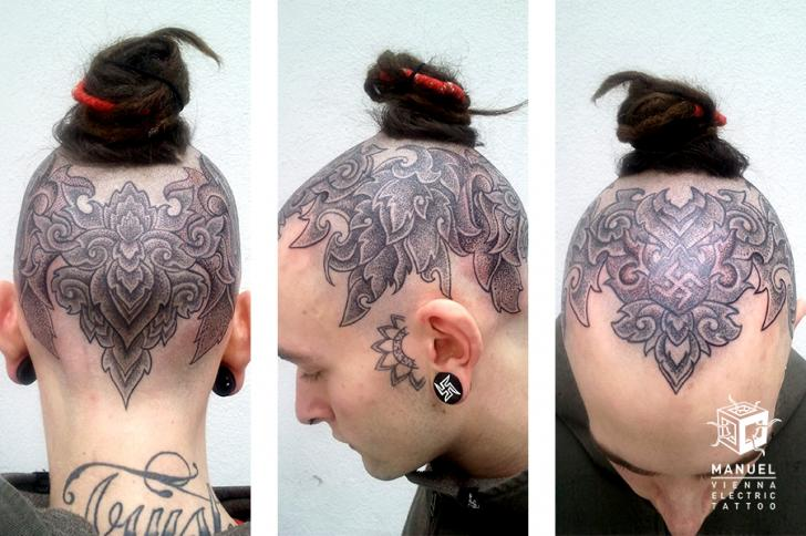 Head Dotwork Tattoo by Vienna Electric Tattoo