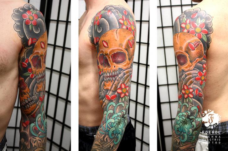 Flower Japanese Skull Sleeve Tattoo by Vienna Electric Tattoo