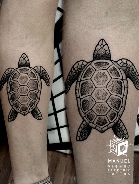 Leg Dotwork Turtle Tattoo by Vienna Electric Tattoo