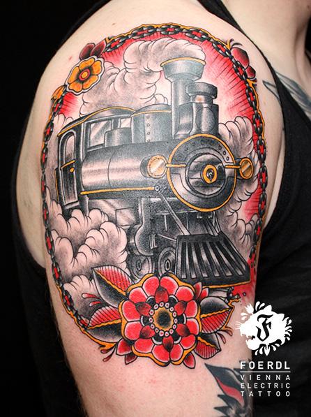 Shoulder New School Train Tattoo by Vienna Electric Tattoo