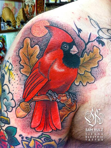 Shoulder Realistic Bird Tattoo by Vienna Electric Tattoo
