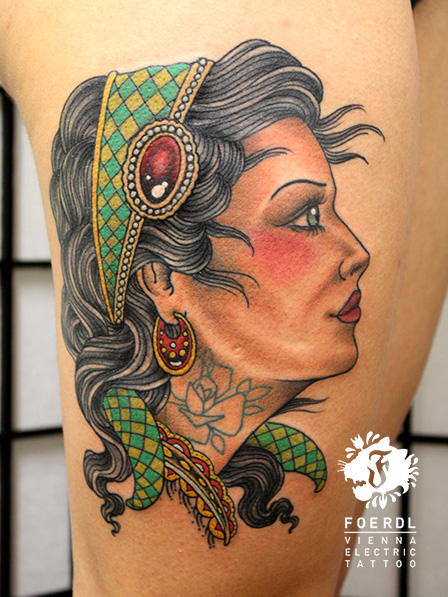 New School Women Gypsy Thigh Tattoo by Vienna Electric Tattoo