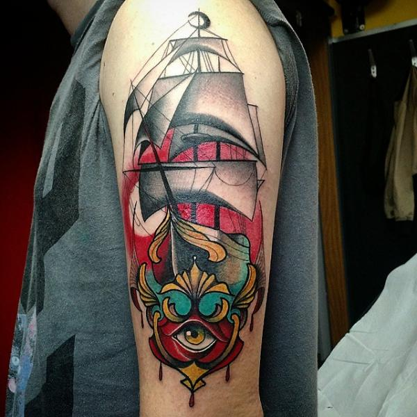 Arm Galleon Tattoo by Nik The Rookie