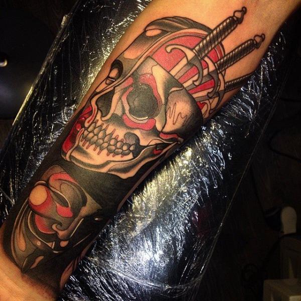 Arm Skull Tattoo by Nik The Rookie
