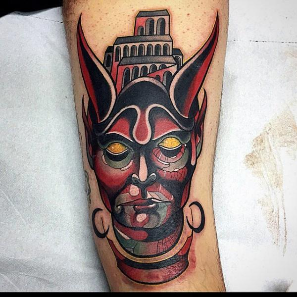 Devil Thigh Tattoo by Nik The Rookie