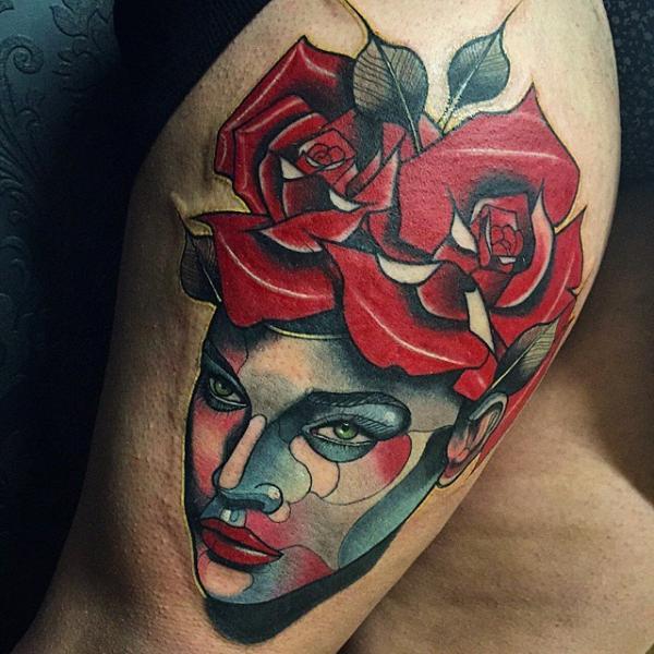 Blumen Frauen Rose Oberschenkel Tattoo von Nik The Rookie