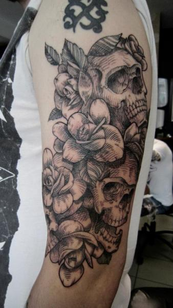 Arm Flower Skull Dotwork Rose Tattoo by Ottorino d'Ambra